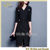 Solid Waist Thin Temperament Five-Point Sleeve Women Office Dress