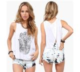 Fringer Printing Women Blouse Style Loose Lady Tank Top