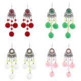 Women′s POM POM Chainlink Drops Triple Round Plush Ball Long Dangle Earrings Statement Drop Earrings