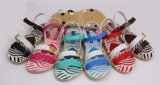 OEM Fashion Pcu PVC Jelly Sandals with Strip Printing (24PUC16-1)