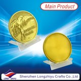 Antique Gold Metal Zinc Alloy Casted Round Custom Coins, Golf Sports Embossed Logo Medals for Champions, Custom Cheap Your Own Design Coin Badge Dealer
