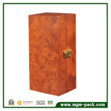 Single Bottle Wooden Wine Box with Hinged and Clasp