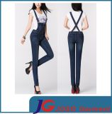 Dark Blue Buddy Suspender Skinny Jeans Women Clothes (JC1300)