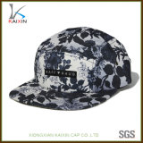 Custom Woven Label Sublimated Camper Leather Strap 5 Panel Hats