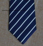 Poly Woven Navy and White Striped Necktie for Men