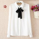 Long Sleeve Chiffon Shirt College Wind White Shirt for Women Lady Shirt