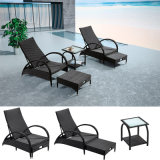 Wicker 3-Piece Chaise Lounge Set for Garden outdoor Coffee Time