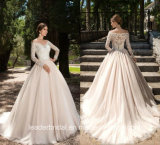 Lace Bridal Gown Long Sleeves V-Neck Wedding Dress 2017 M3207