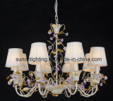 UL Approval Russia Floral Fabric Shade Iron Chandelier