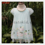Cute Fashion Chiffon Embroidered Sweety Checkskirt for Baby Clothes