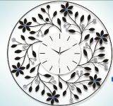 Metal Leaves Round Shape Metal Digital Clock for Decoration