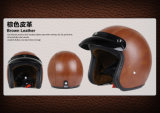 Leather Half Face Helmet for Motorcycle/Bicycle with DOT Approved