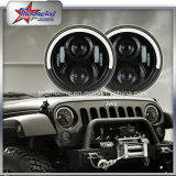 "7"" LED Headlight for Jeep Hummer Harley High Low Beam with DRL Angel Eyes Headlights Half Halo"