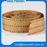 Fashion Custom Strap Gift Ribbon with Golden Metallic Wire