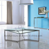 Square Designs Modern Furniture Coffee Table with Tempered Glass