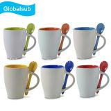 Color Coffee Mug Sublimation Ceramic with Spoon