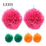 Earrings Big Lovely Candy Color Woolen Yarn Ball Drop Earrings for Women