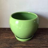 Practical Green Round Garden Ceramic Pot