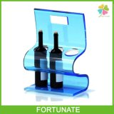 Blue Acrylic Portable Wine Display Plexiglass Bottle Stand Holder