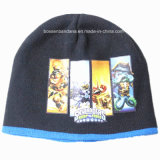 China Factory Cheap Customized Cartoon Printed Acrylic Warm Knitted Children Beanie Hat