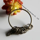 Bronze Round Large Circular Ring Retro Key Ring with 10 Small Rings