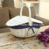 Customized Oval Shape Lined Cheap Wicker Basket in White Color