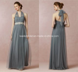 Jewelry Sash Evening Prom Gowns A-Line Gray Pleated Tulle Bridesmaid Dresses Z5090