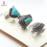 European and American Geometric Retro Couple Rings Turquoise Studded Alloy Ring Set Jewelry