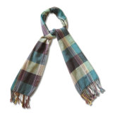 Ladies Fashion 100% Wool Knit Scarf in Check Pattern (YKY4047)