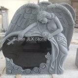 Shanxi Black Granite Angel Heart with Rose Carving Headstones