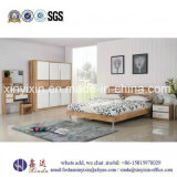 Cheap Double Bed Wooden Apartment Bedroom Sets (SH-007#)