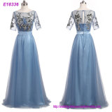Long Formal Occasion Real Photo New High Waist Tulle See Through Back 3/4 Sleeve A Line Beading Handmade Party Dress