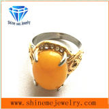 Casting Jewelry Stainless Steel with Yellow Stone Fashion Finger Ring