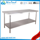 2 Layer Round Tube Shelf Reinforced Robust Construction Restaurant Utility Standing Working Table with Height Adjustable Leg