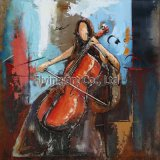 3D Metal Painting for a Girl Playing Violoncello
