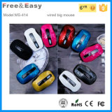 Both Hands Orientation Flat USB Wired Optical Mouse for PC