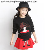 Girls′ Lady Printed T-Shirt and Skirt Suit Children Clothes