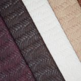 Basket Weave Faux Polyurethane Imitation Leather Fabric for Bag Shoe