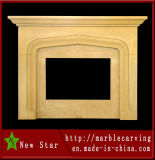 Beige Limestone Granite Fireplace Marble Fireplace Mantel Surround
