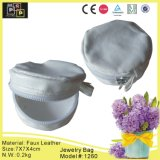 White Leather Light Weighted Jewelry Bag (1260)