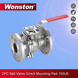 2PC Flange Ball Valve with Direct Mounting Pad ASME 300lbs