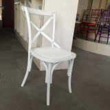 White Resin Plastic Cross Back Chair at Hotel