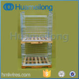Warehouse Steel Collapsible Cage Pallet with Wooden Pallet
