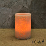 Real Wax LED Flameless Carved LED Candle with Battery Operated
