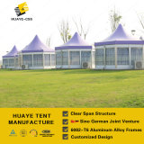 Hexagonal High Peak Purple Roof Aluminum Party Tent with Glass Walls (hy010)