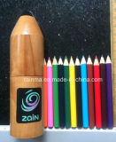 "3.5"" Color Pencil in Wooden Rocket Tube Holder"