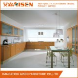 Wood Color Modern Kitchen Cabinet with Wood Veneer Finish