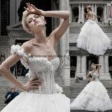 One Shoulder Ball Gowns Lace Applique Wedding Bridal Dresse Z2003