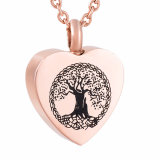Rose Gold Plated Tree of Life Heart Shaped Urn Necklace