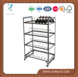 Retail Display Trolley with 4 Double Wine Racks